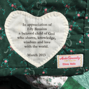 Photo of In The Garden of Life Affirmation Quilt heart.